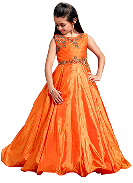 Orange Art Silk Kids Gown