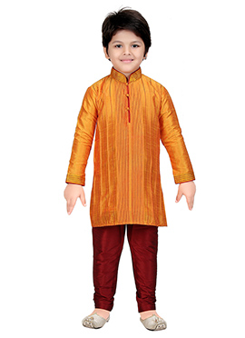 Orange Art Silk Kids Kurta Pyjama