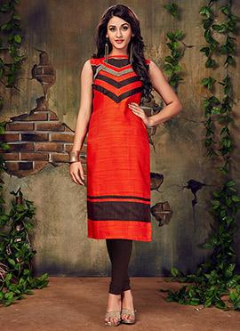 Orange Art Silk Knee Length Kurti