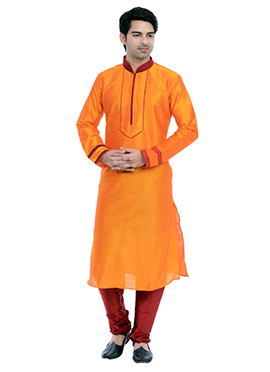 Orange Art Silk Kurta Pyjama