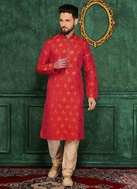 Orange Art Silk Kurta Pyjama
