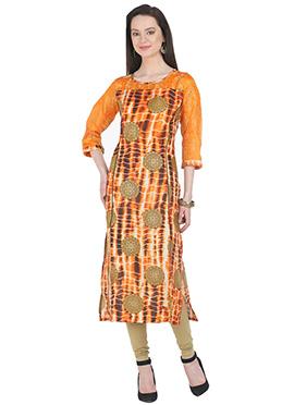 Orange Art Silk Kurti