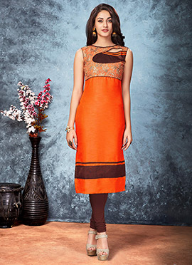 Orange Art Silk Kurti