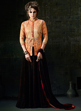 Orange Art Silk Long Choli A Line Lehenga