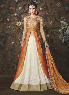 Orange Art Silk Long Choli A Line Lehenga