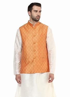 Orange Art Silk Nehru Jacket