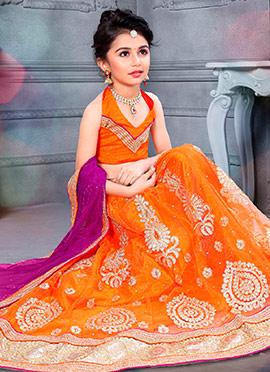 Orange Art Silk Net Kids Lehenga