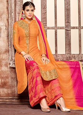 Orange Art Silk Palazzo Suit