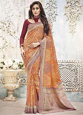 Orange Art Silk Printed Saree