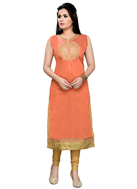 Orange Art Silk Straight Kurti