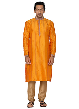Orange Art Silk Striped Kurta Pyjama