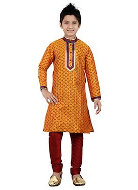Orange Art Silk Teens Kurta Pyjama