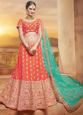 Orange Art Silk Umbrella Lehenga Choli