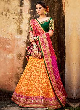 Orange Art Silk Umbrella Lehenga Choli