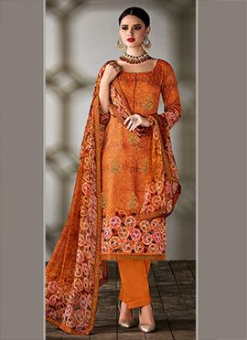 Orange Art Tussar Silk Straight Pant Suit