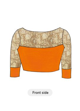 Orange Artsilk Blouse with Gold Embroidered sleeves