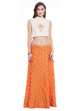 Orange Banarasi Dupion Umbrella Lehanga choli