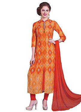 Orange Bandhini Printed Straight Pant Suit