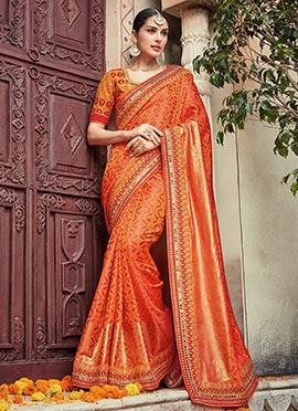 Orange Bandhini Saree