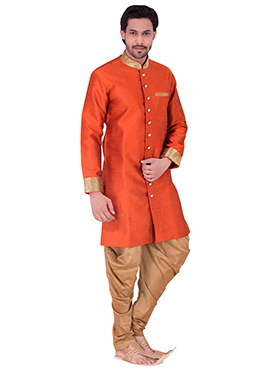 Orange Benarasi Art Silk Achkan Sherwani