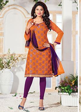 Orange Benarasi Art Silk Churidar Suit