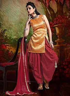 Orange Benarasi Art Silk Patiala Suit