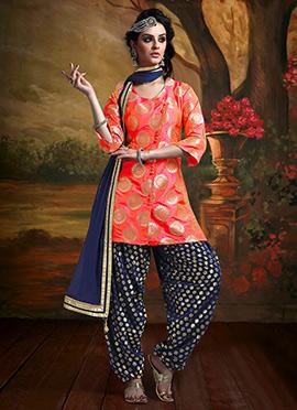 Orange Benarasi Art Silk Salwar Suit