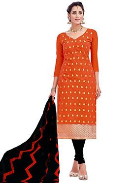 Orange Benarasi Cotton Churidar Suit