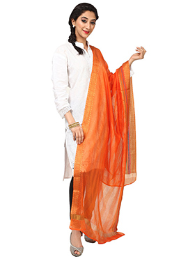 Orange Benarasi Cotton Dupatta