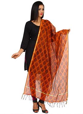 Orange Benarasi Cotton Printed Dupatta