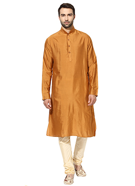 Orange Benarasi Cotton Silk Kurta