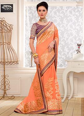 Peach Benarasi Kora Silk Saree