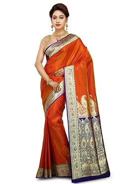 Orange Benarasi Pure Handloom Silk Saree