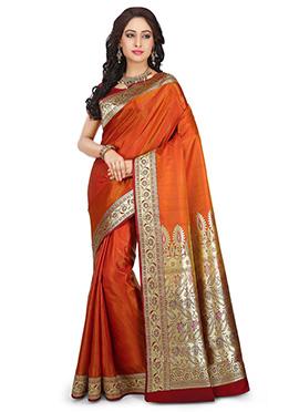 Orange Benarasi Pure Silk Saree