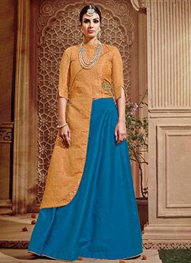 Orange Benarasi Silk A Line Lehenga