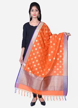 Orange Benarasi Silk Dupatta
