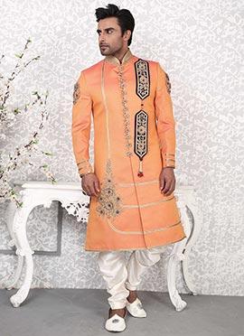 Orange Benarasi Silk Sherwani