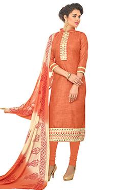 Orange Bhagalpuri Cotton Churidar Suit