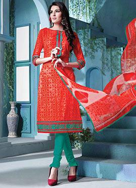 Orange Blended Cotton Churidar Suit