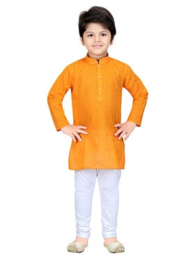 Orange Blended Cotton Kids Kurta Pyjama