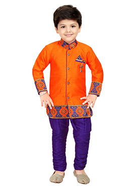 Orange Blended Cotton Kids Sherwani