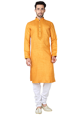 Orange Blended Cotton Kurta Pyjama