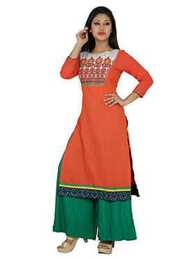 Orange Blended Cotton Kurti