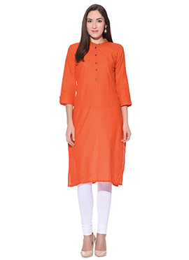Orange Blended Cotton Kurti