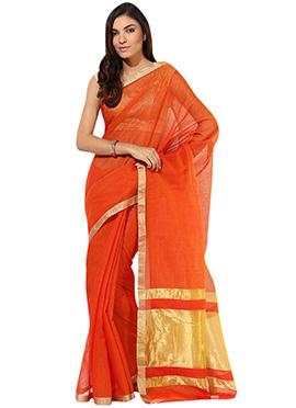 Orange Blended Cotton Mangalgiri Saree