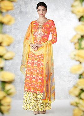 Orange Blended Cotton Palazzo Suit