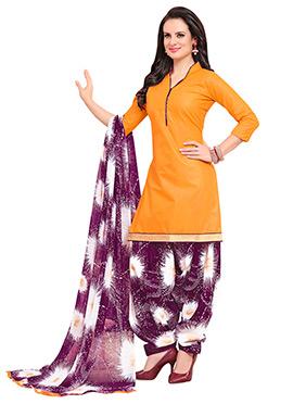 Orange Blended Cotton Patiala Suit