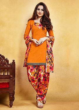 Orange Blended Cotton Salwar Suit