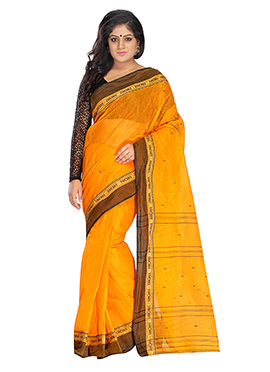 Orange Blended Cotton Tangail Saree