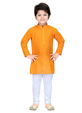 Orange Blended Cotton Teens Kurta Pyjama